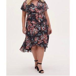 🆕 Swiss Dot Floral Grey Faux Wrap Dress 2X 18 20